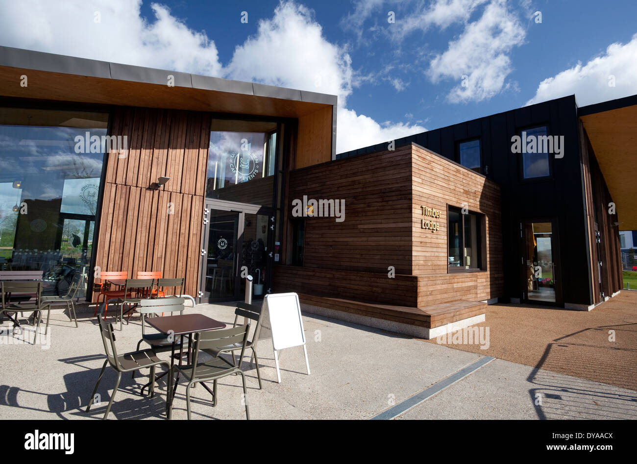 Solar Powered Timber Lodge Cafe In Queen Elizabeth Olympic Park London