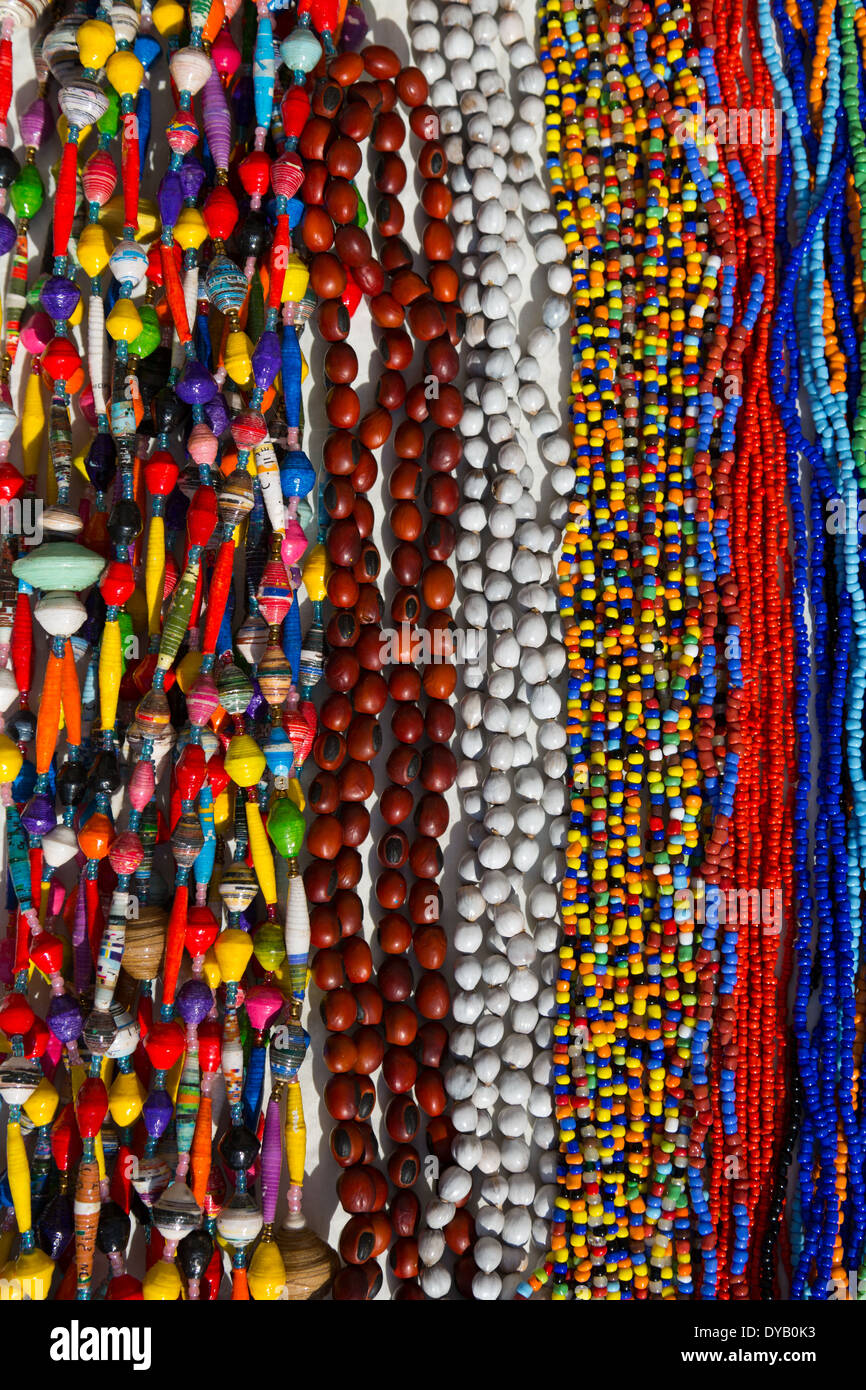 Colourful African beads on display. Craftwork Stock Photo, Royalty ...