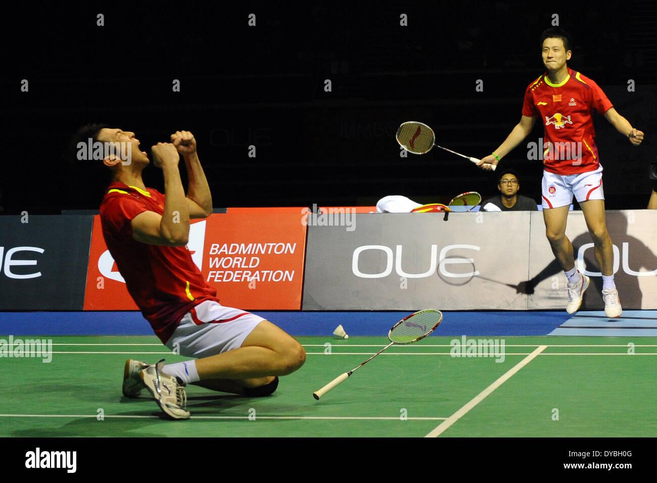 Singapore 13th Apr 2014 Cai Yun R and Lu Kai of China