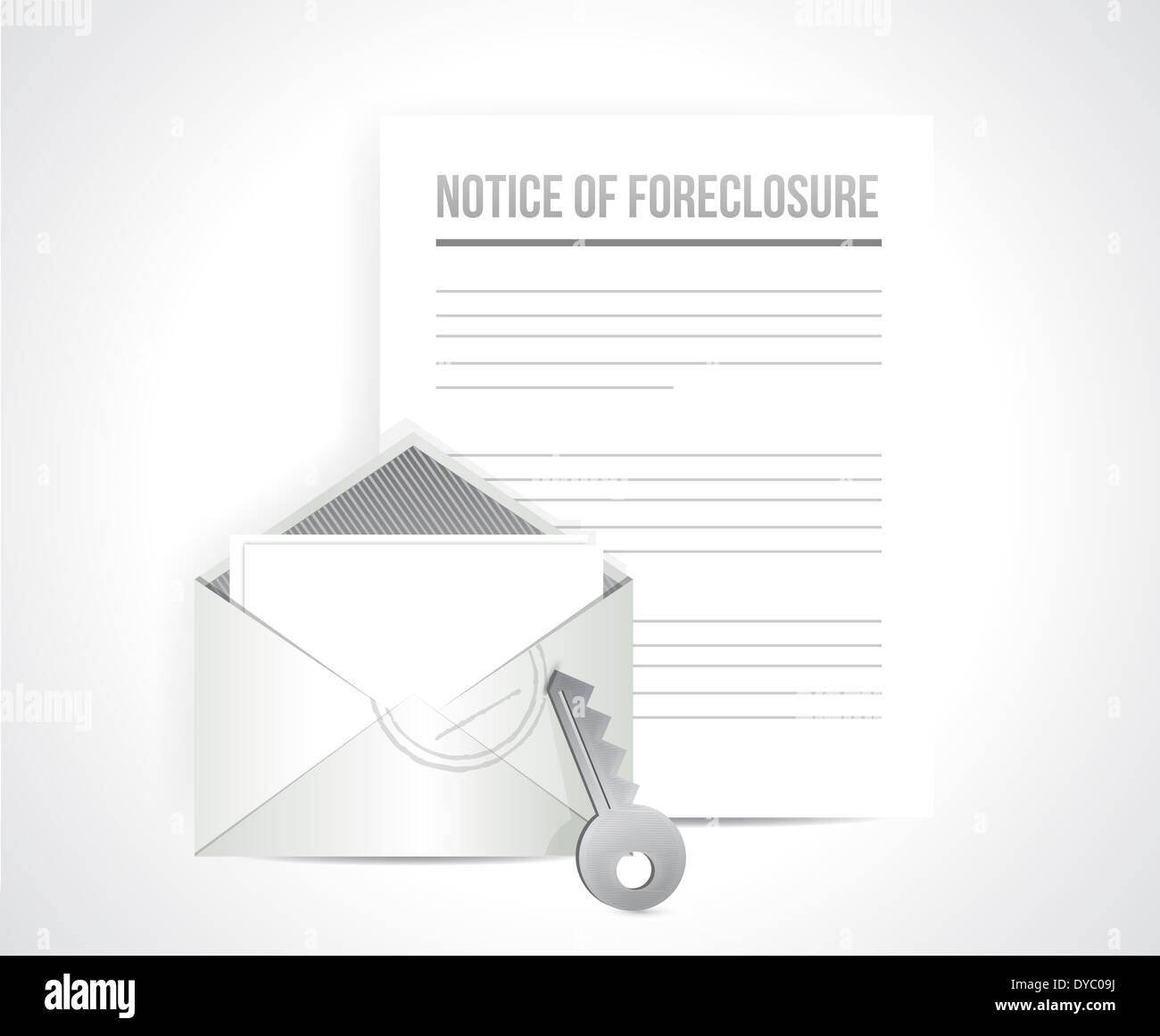 stock photo notice of foreclosure letter and envelope illustration design over white