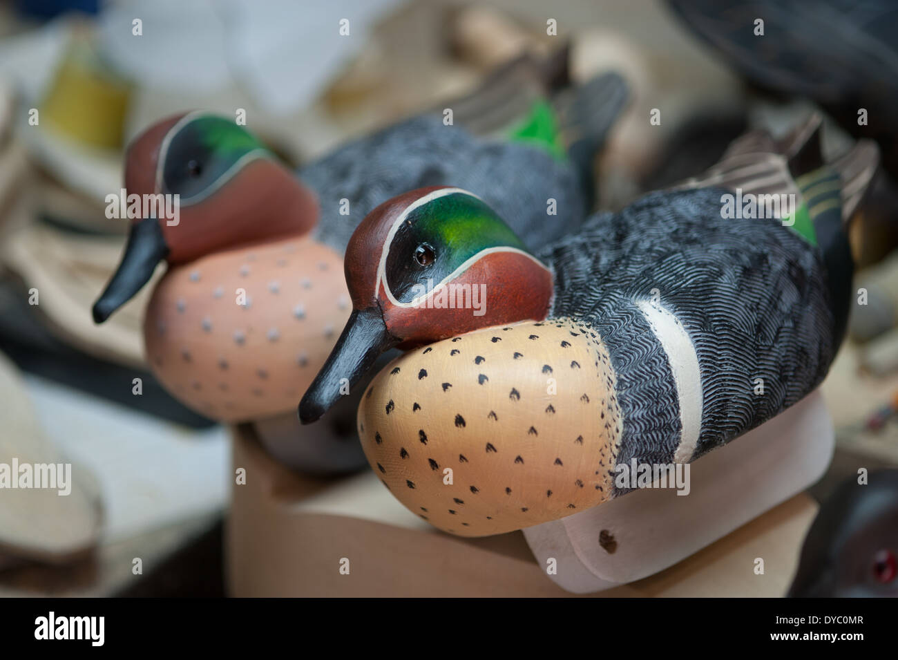 Hand painted and carved wooden duck decoys Stock Photo ... - photo#17