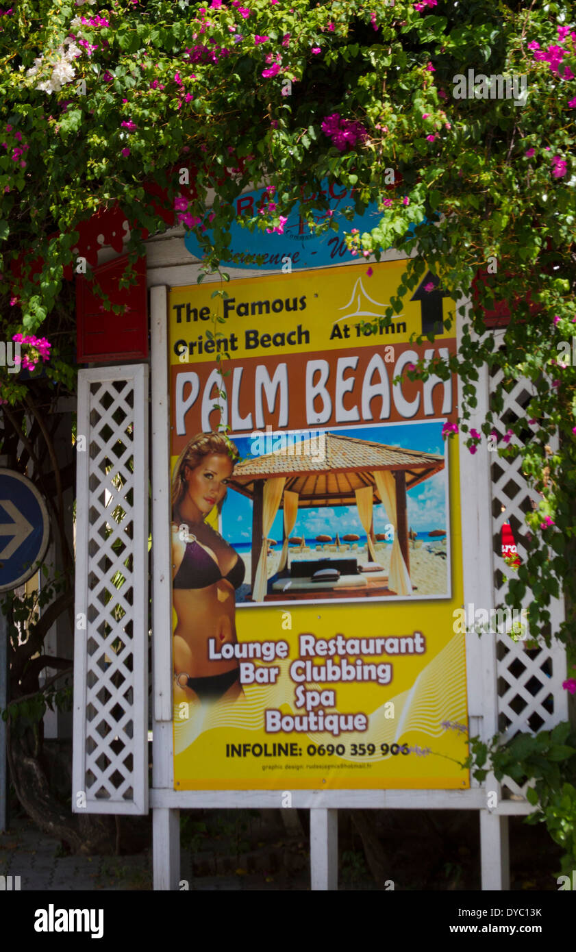 The Famous Orient Beach Palm Sign In St Maarten Stock Photo