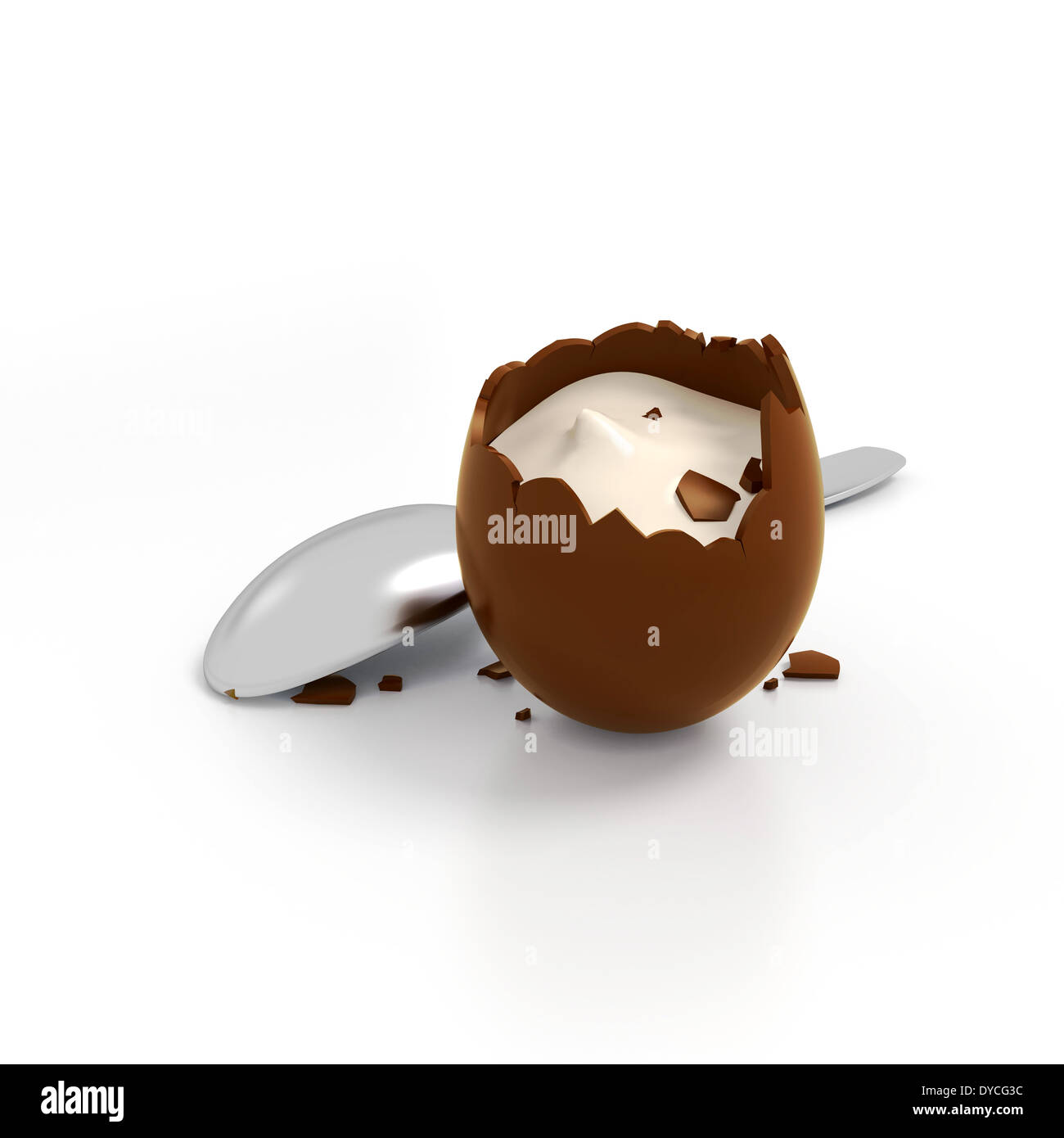 Illustration of crashed chocolate egg cream filling with spoon ...