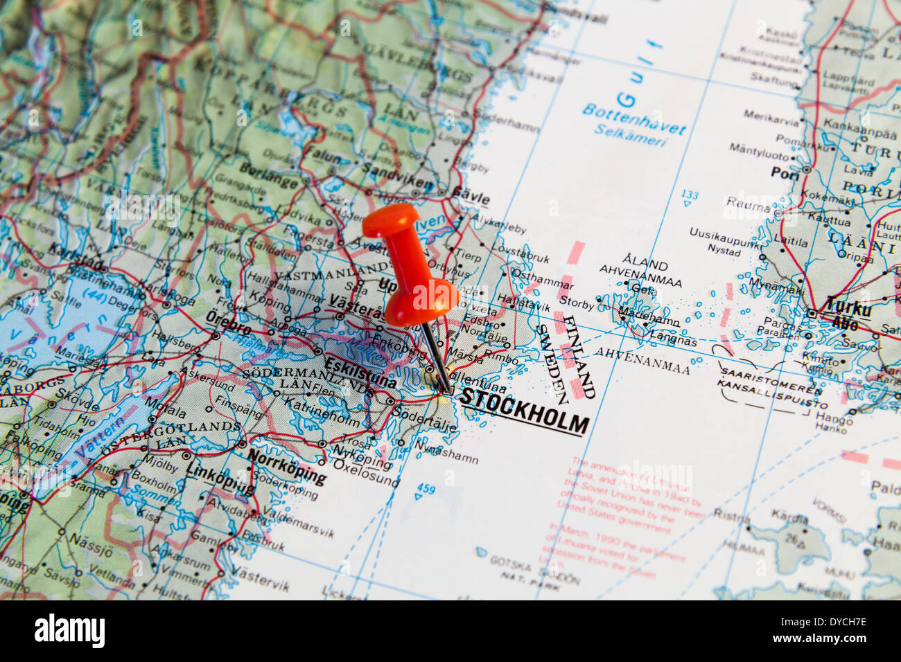 Red map pin pointing on map to the city of Stolkholm Stock Photo