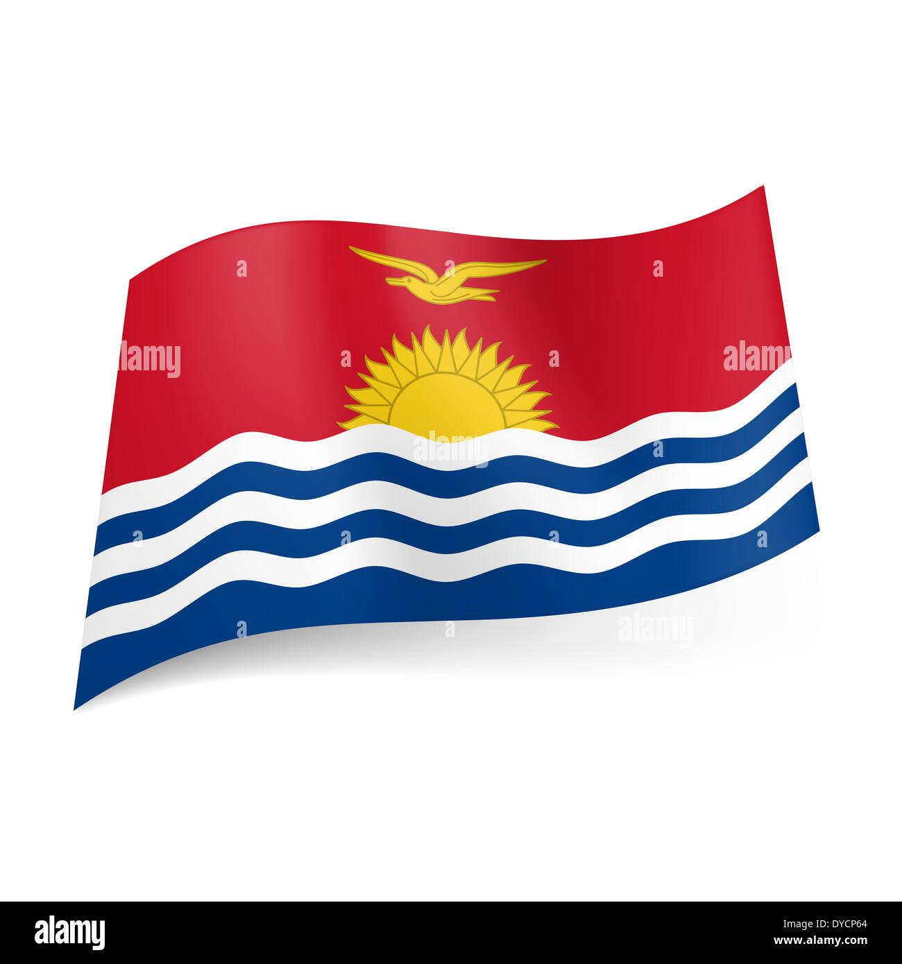 National flag of kiribati ocean image with sun and bird above on national flag of kiribati ocean image with sun and bird above on red background sciox Choice Image