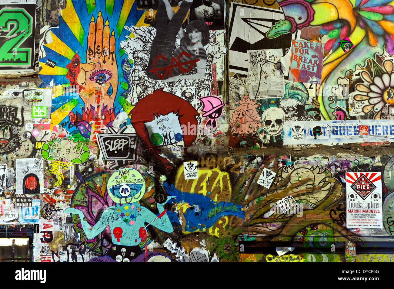Graffiti wall ann arbor - Washington Graffiti Wall In Post Alley Of Seattle S Pike