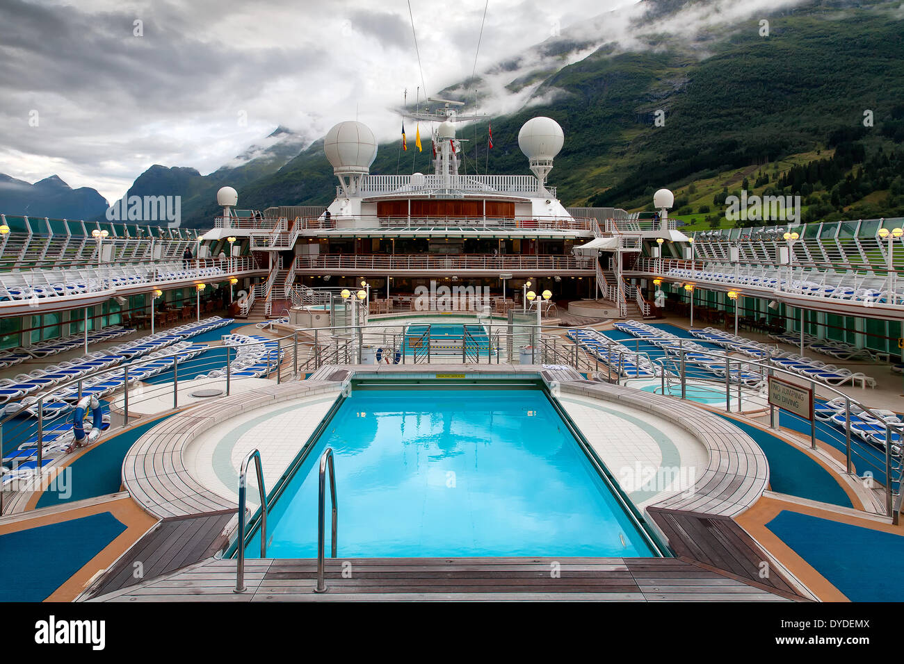 Cruise Ship Swimming Pool And Mountains Stock Photo Royalty Free Image 6852