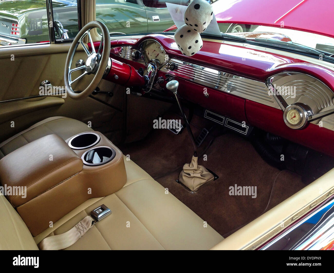 1955 chevy bel air custom interior stock photo royalty free image 68530037 alamy. Black Bedroom Furniture Sets. Home Design Ideas