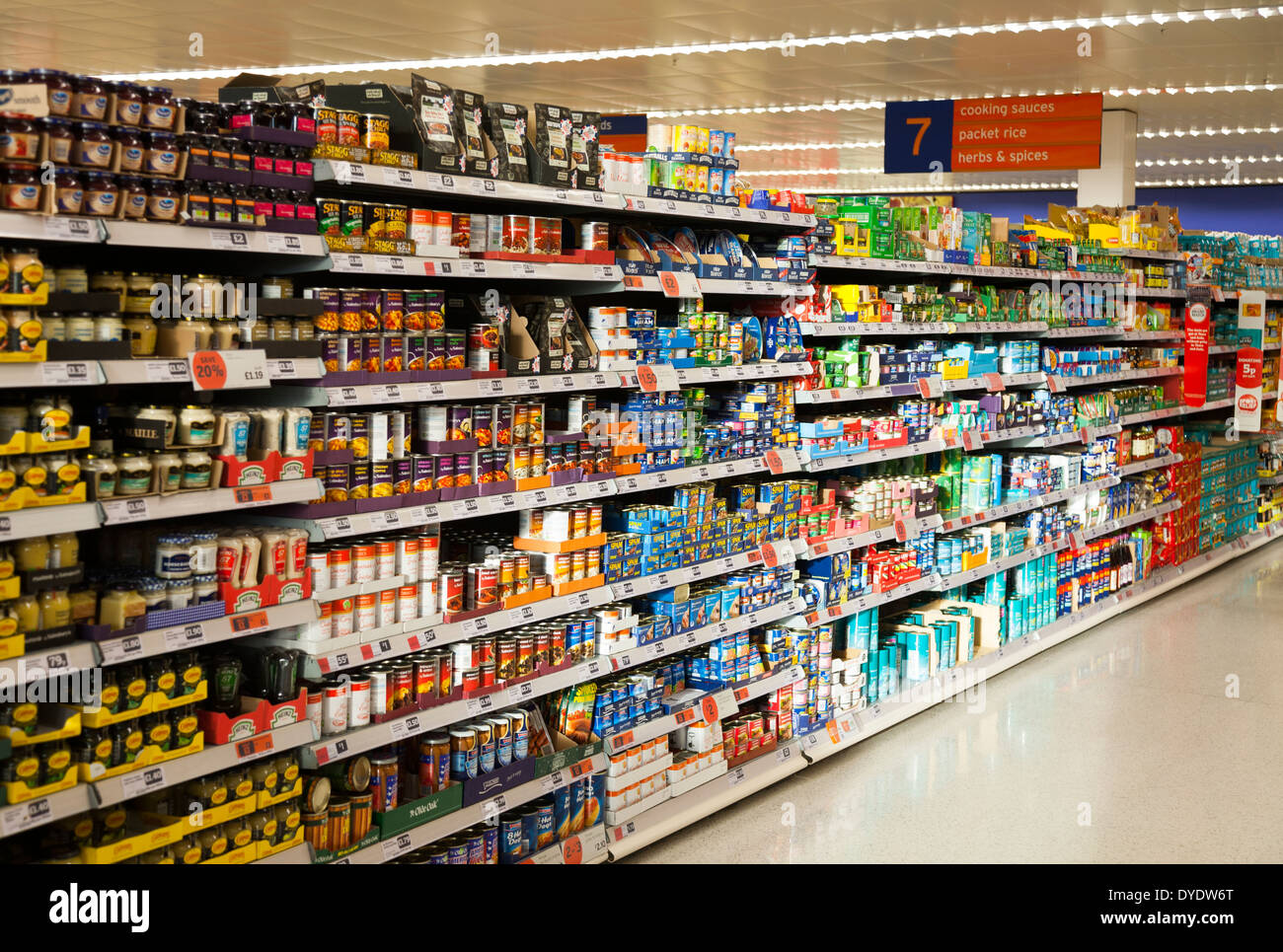 White apron sainsburys - Sainsbury S Sainsburys Aisle Aisles In A Uk Store Shop Supermarket Stock