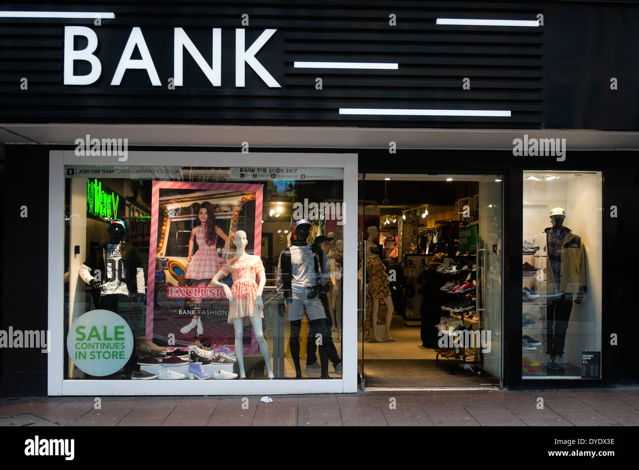 BANK Clothing Store Cardiff City Centre March 28 2014 Stock Photo Royalty Free Image 68532674 ...