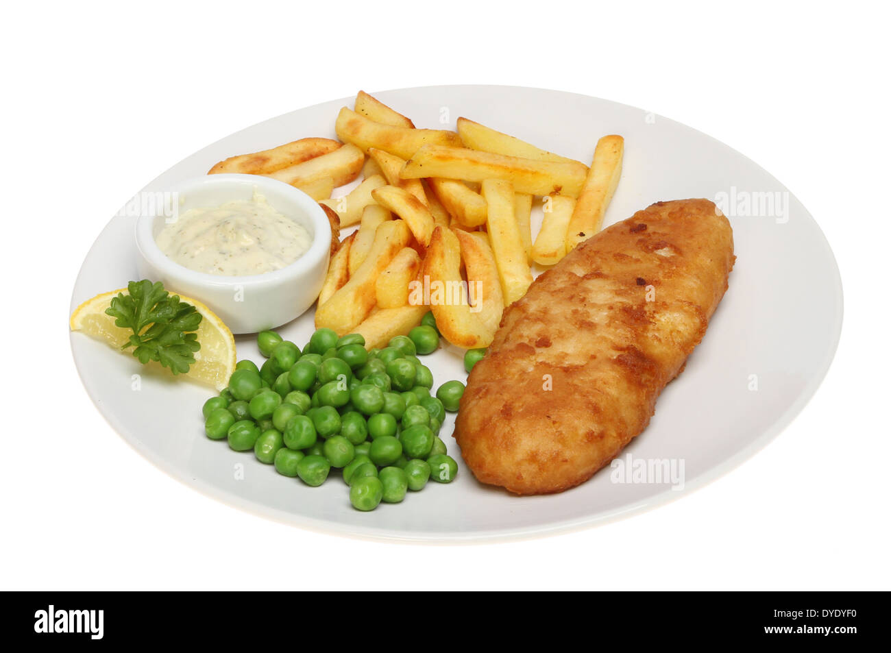 battered fish chips and peas with tartar sauce and a garnish of stock photo royalty free image. Black Bedroom Furniture Sets. Home Design Ideas