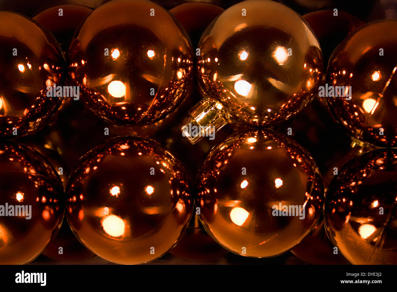 Close Up Shot Of Copper Colour Christmas Tree Baubles