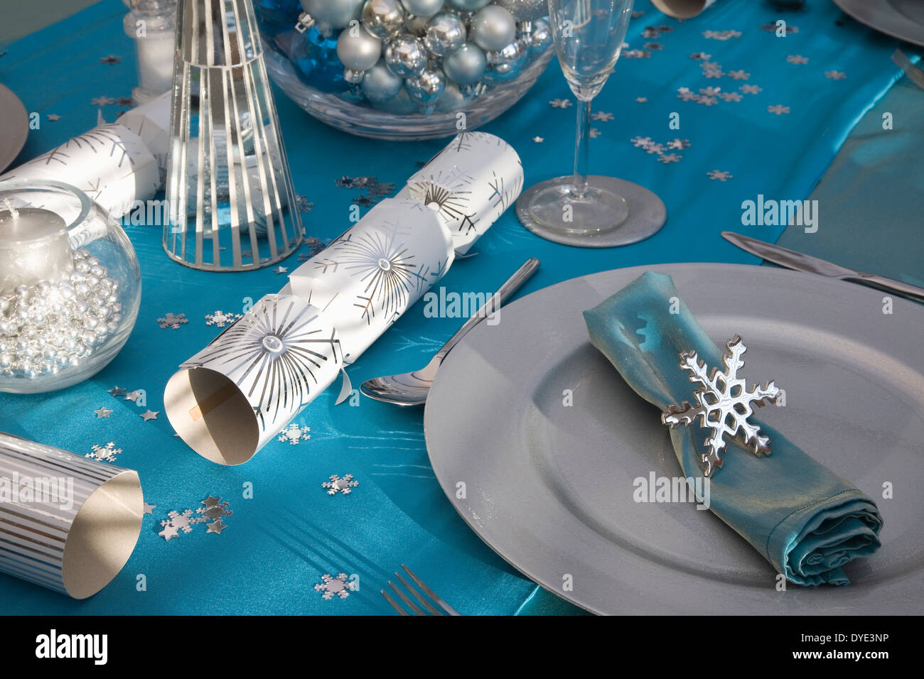 Christmas Dining Room Table Decorations Blue And Silver Christmas Dinner Table Set Up Stock Photo