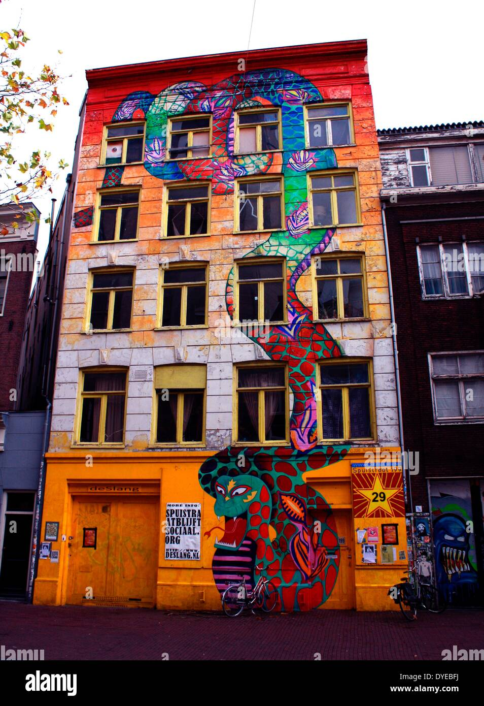 Graffiti wall amsterdam - Graffiti Covering The Front Of A Five Storey Building In Amsterdam Holland Stock Image