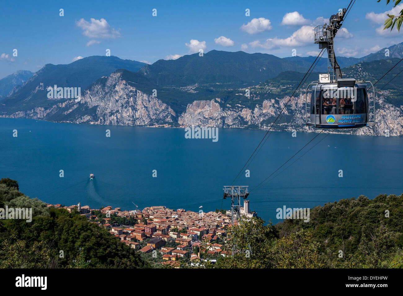 A Cable Car Above The Town Of Malcesine Lake Garda Italy Stock