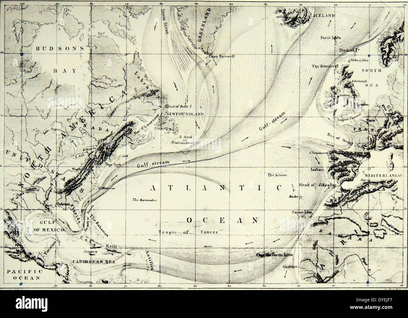 Atlantic Ocean Map Stock Photos  Atlantic Ocean Map Stock Images