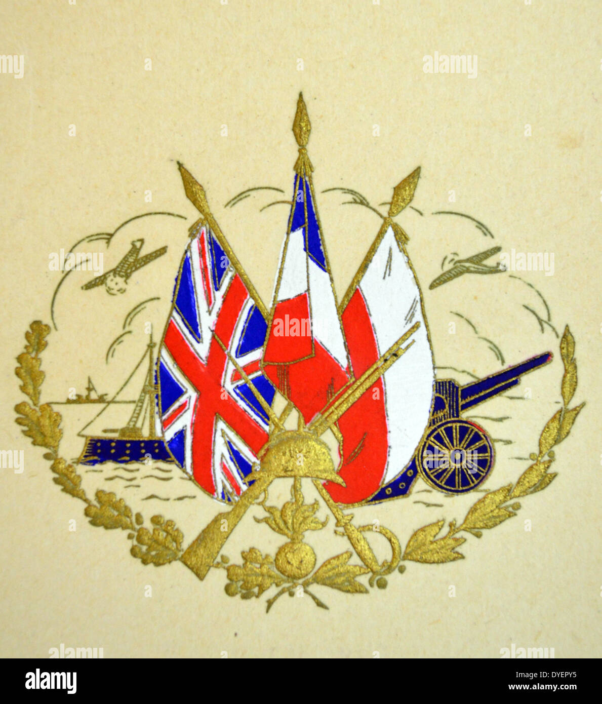 british world war two postcard showing the flags of britain