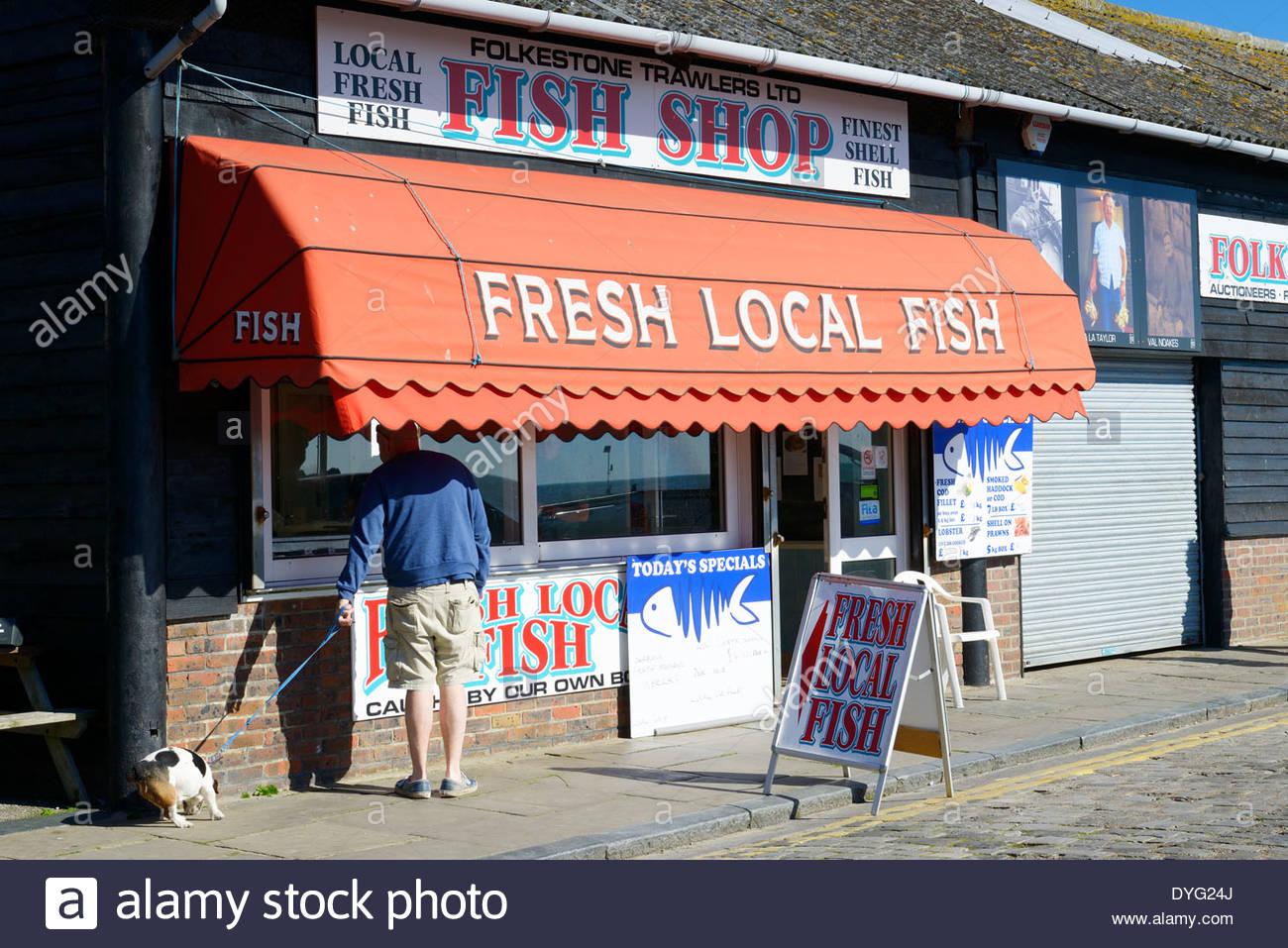 Fresh Fish Shop On The Fish Market Folkestone Kent England UK - Hong kong market kent