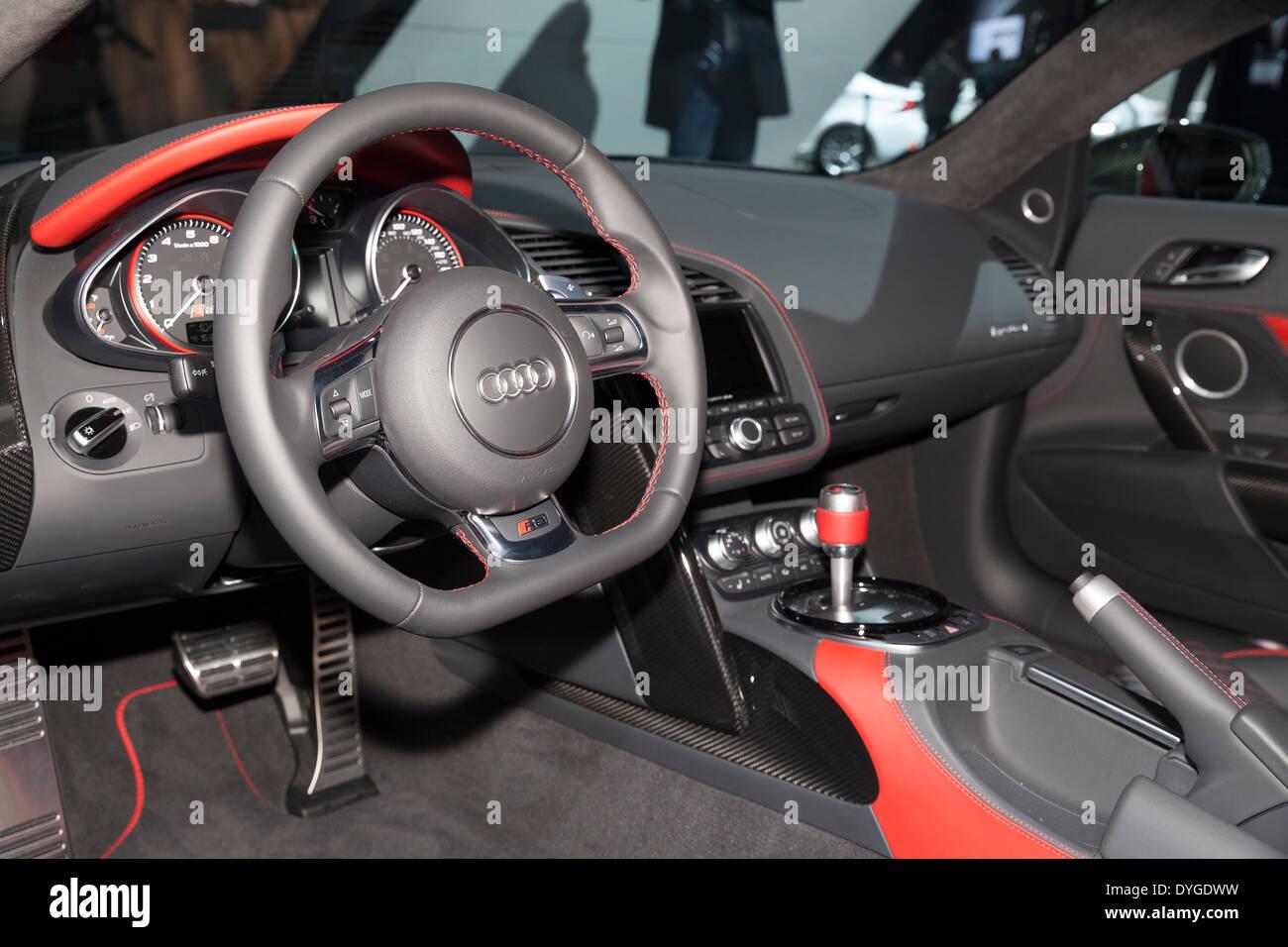 2015 audi r8 interior. interior design of audi r8 v10 plus car edition 2015 on display at new york international auto show