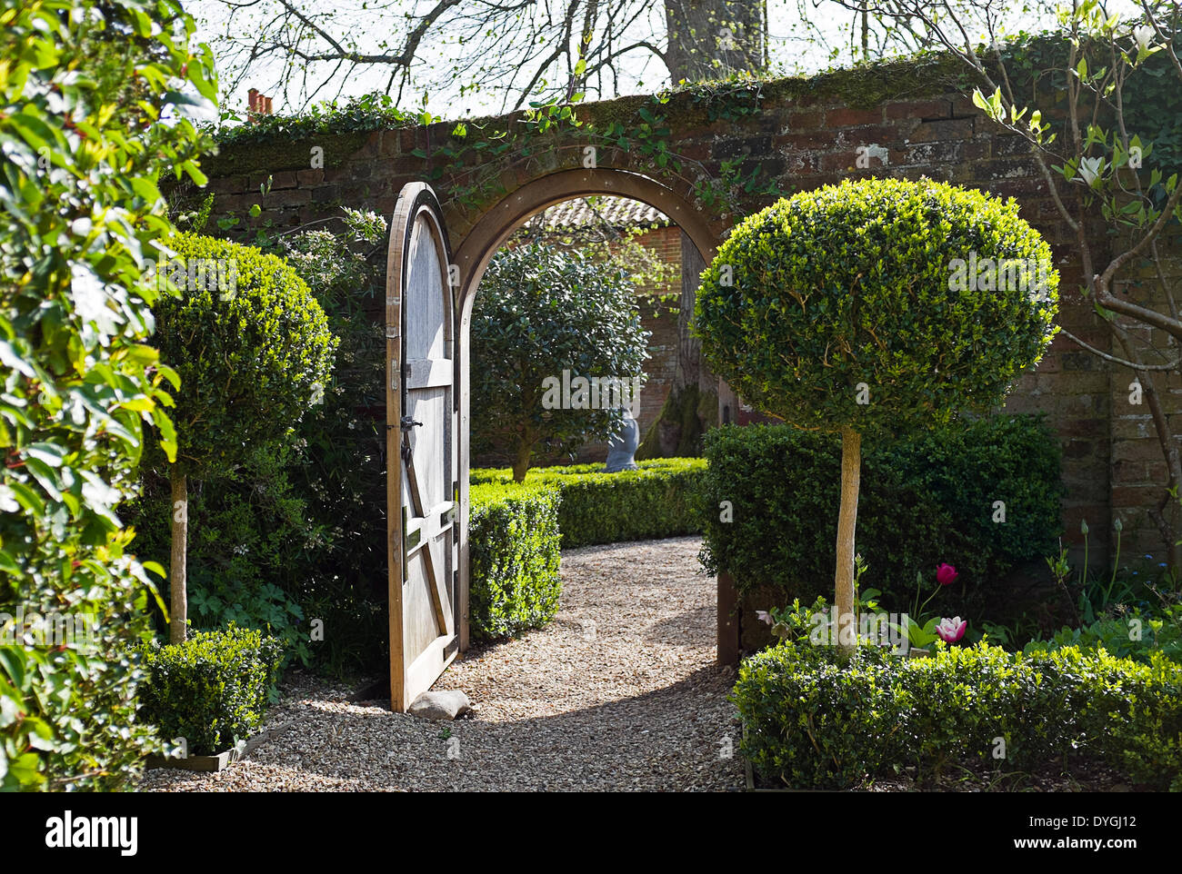the award winning gardens at west green house where an open door stock photo  royalty free image