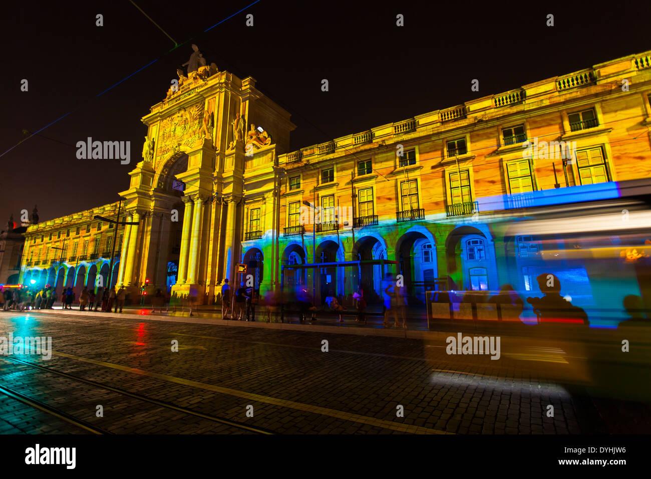 3D Light Show triumphal arch during a 3d outdoor light show - the arch of light