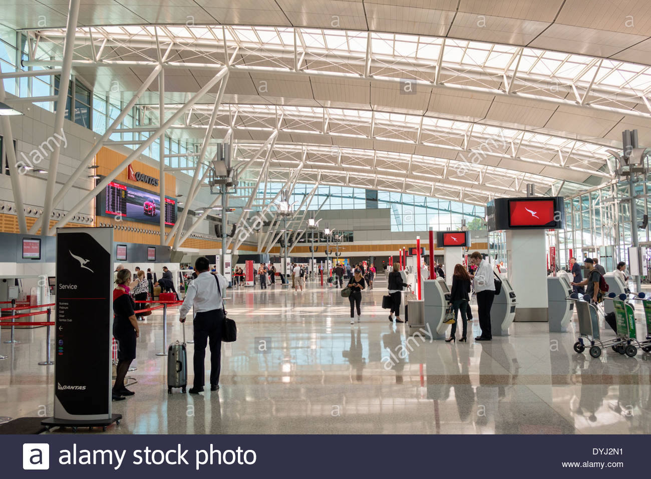Stock photo sydney australia nsw new south wales kingsford smith airport syd terminal concourse inside interior design architectural qantas airlines