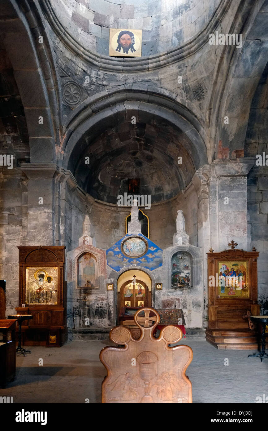 Interior of 14th century Gergeti Trinity Church also ...
