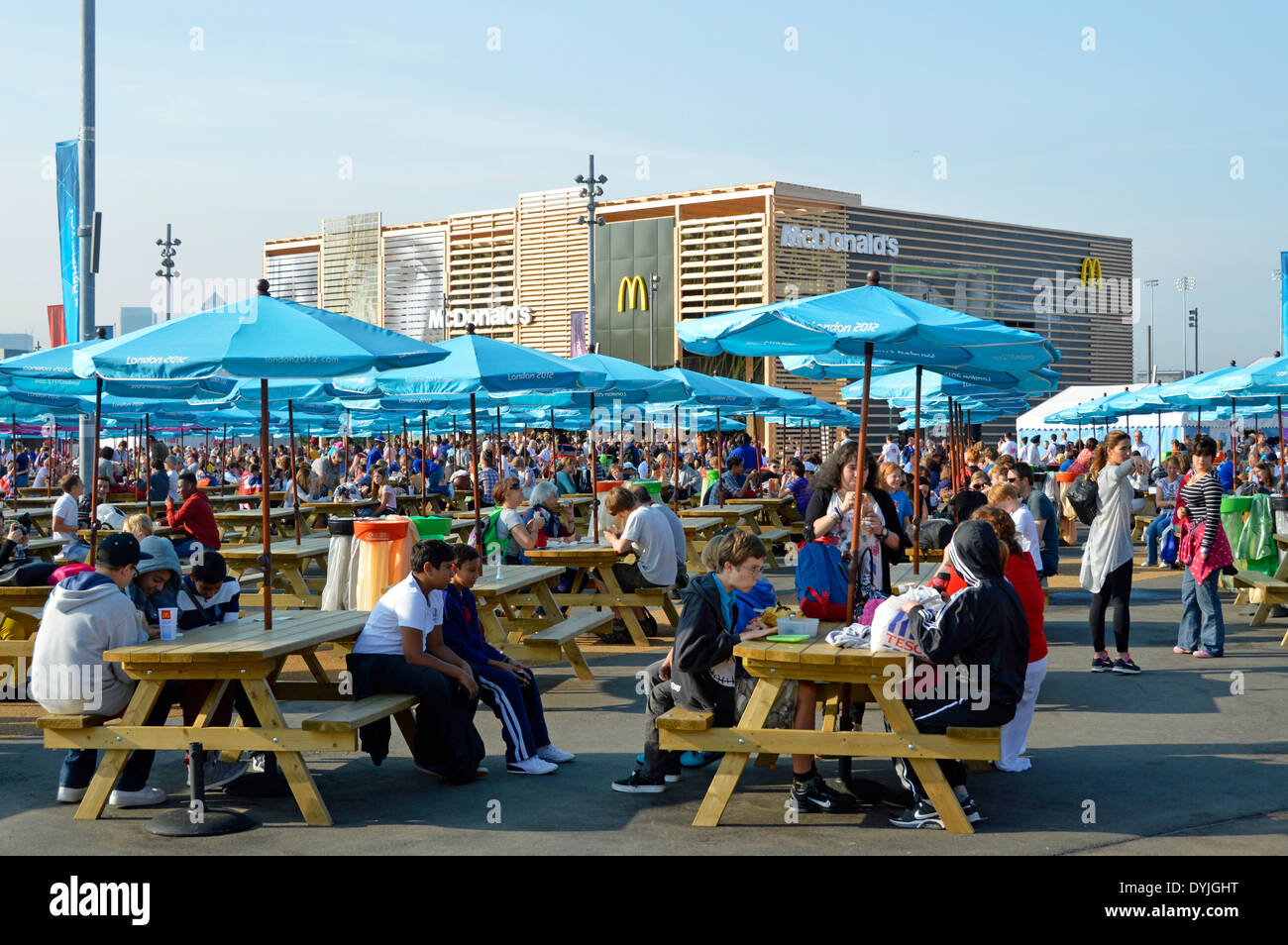 Picnic Benches Parasols London 2012 Olympic Park With Temporary McDonalds Store Supplying Morning Breakfast For