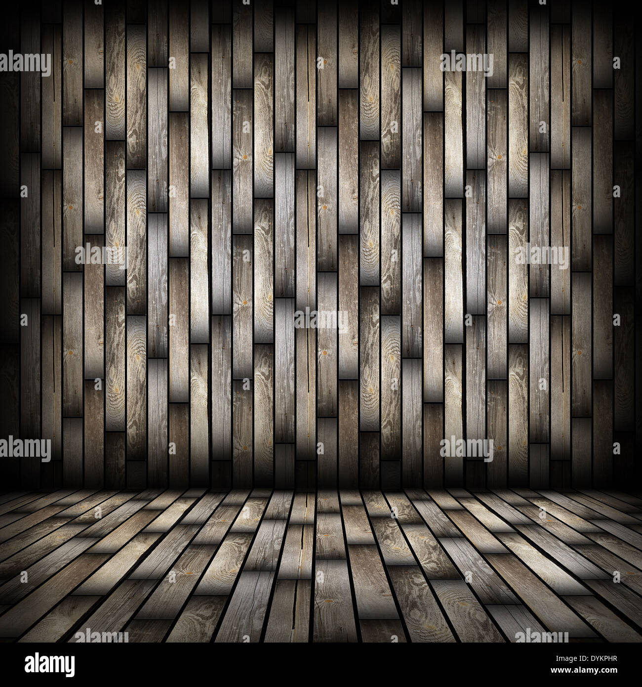 Dark Wood Planks Finishing On Interior Backdrop, Architectural Room  Background For Your Design With Wooden Floor And Wall