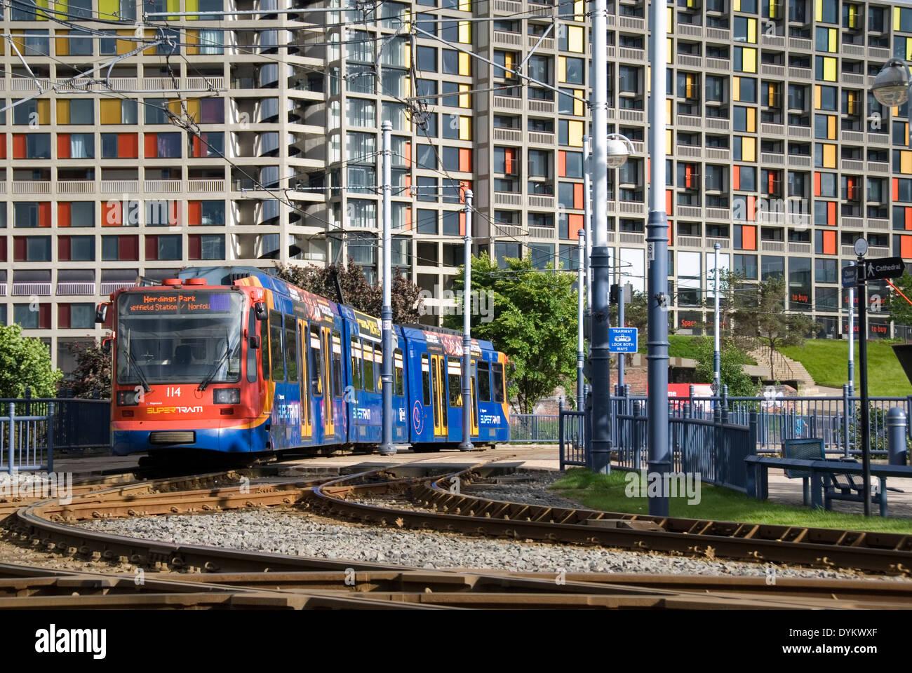 Park Square, Sheffield, UK, 22 June 2013 : Tram on supertram tram ...
