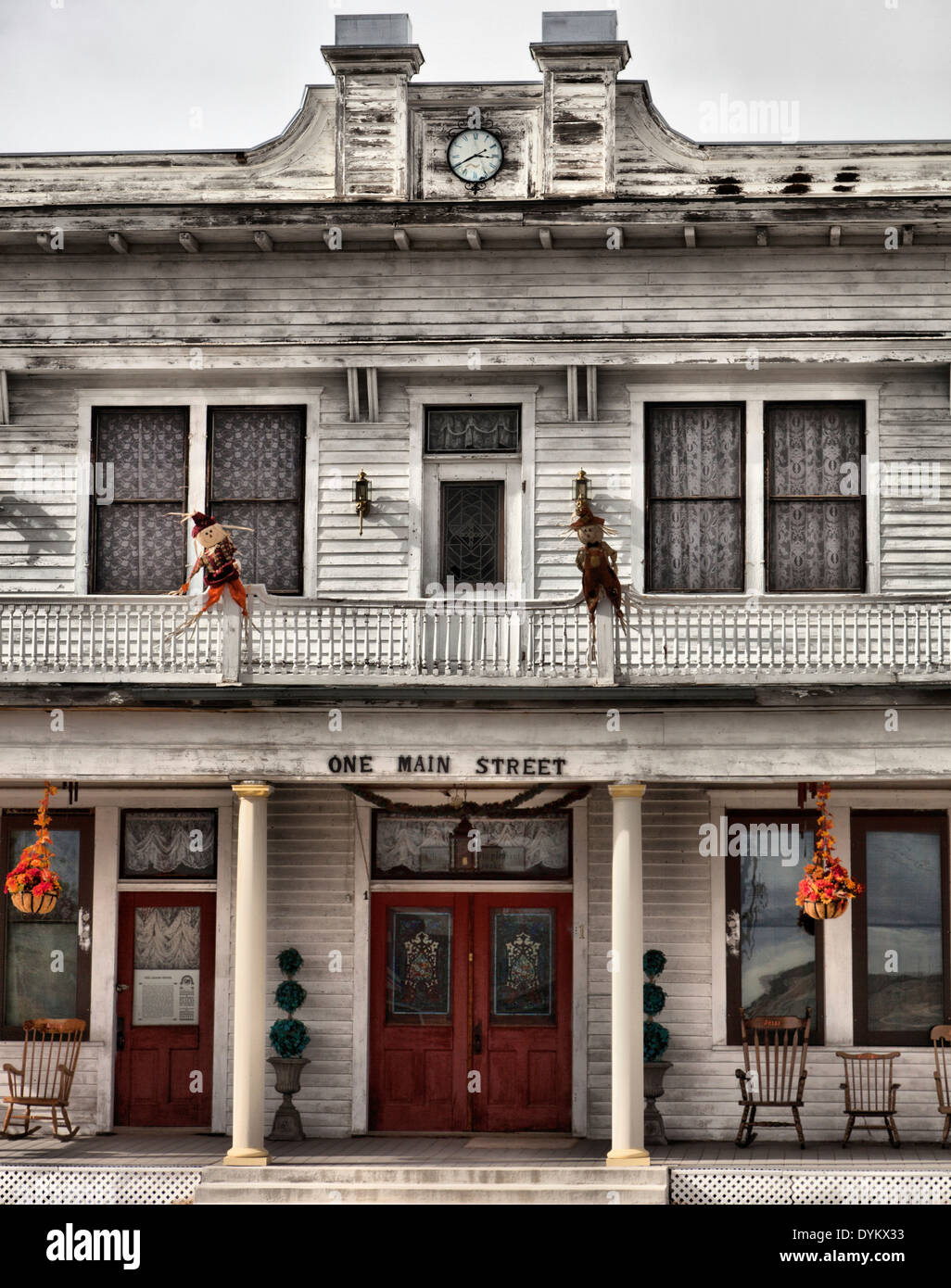 halloween decorations at the adams hotel a restored building on main street lavina montana usa america