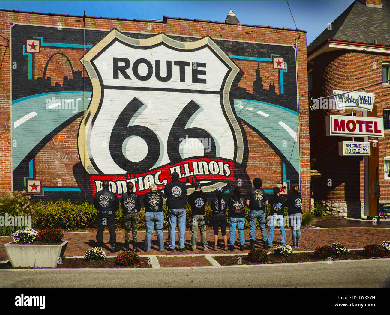 Coyotes malaga motorcycle club viewing the route 66 mural for Route 66 mural