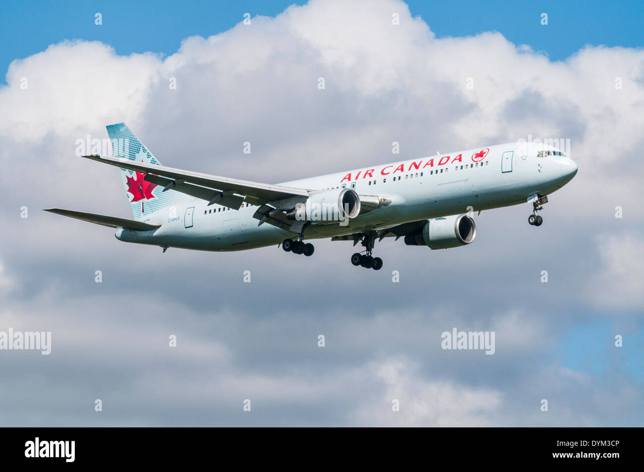 Air Canada Boeing 777 Aircraft On Approach To Land With Landing Gear Down