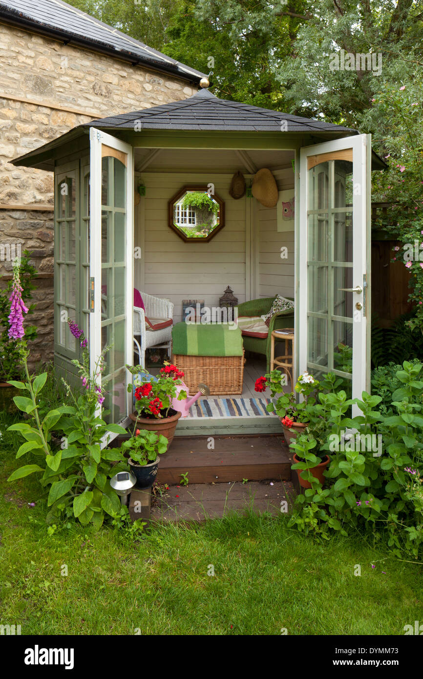 Small summerhouse in english garden stock photo royalty for Garden designs with summer house