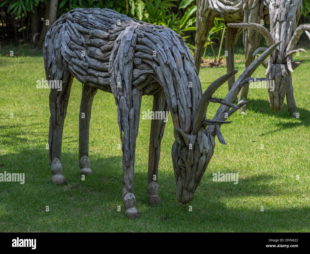 Delightful Rustic Deer Made From Old Wood Making A Great Garden Ornament