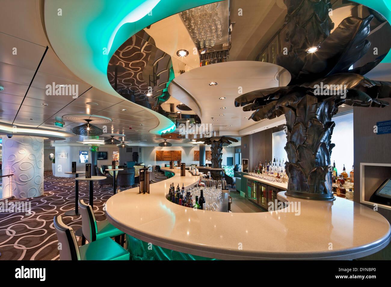 Norwegian Getaway Cruise Ship Southampton United Kingdom Stock - Ice bar on cruise ship