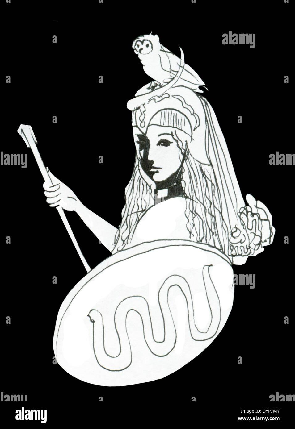 Pallas athena goddess symbol of wisdom intellect creativity and pallas athena goddess symbol of wisdom intellect creativity and strength for example ink drawing with attributes biocorpaavc