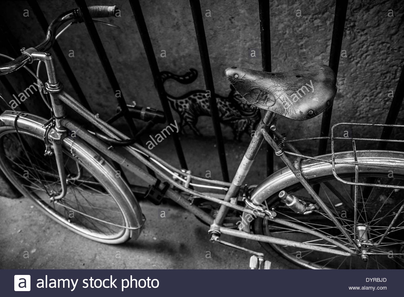 bicycle chained in lyon france stock photo royalty free image 68740853 alamy. Black Bedroom Furniture Sets. Home Design Ideas