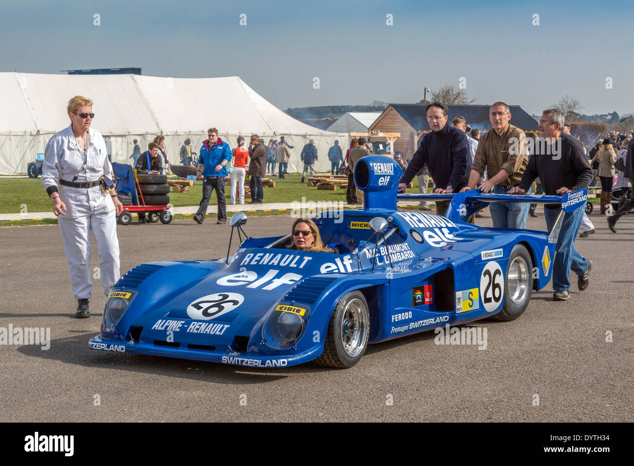 1975 alpine renault a441 is pushed to the collection paddock stock photo royalty free image. Black Bedroom Furniture Sets. Home Design Ideas