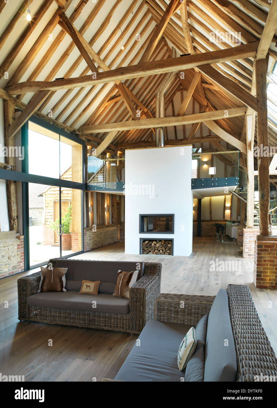 Living Room In Barn Conversion With Exposed Beams Field