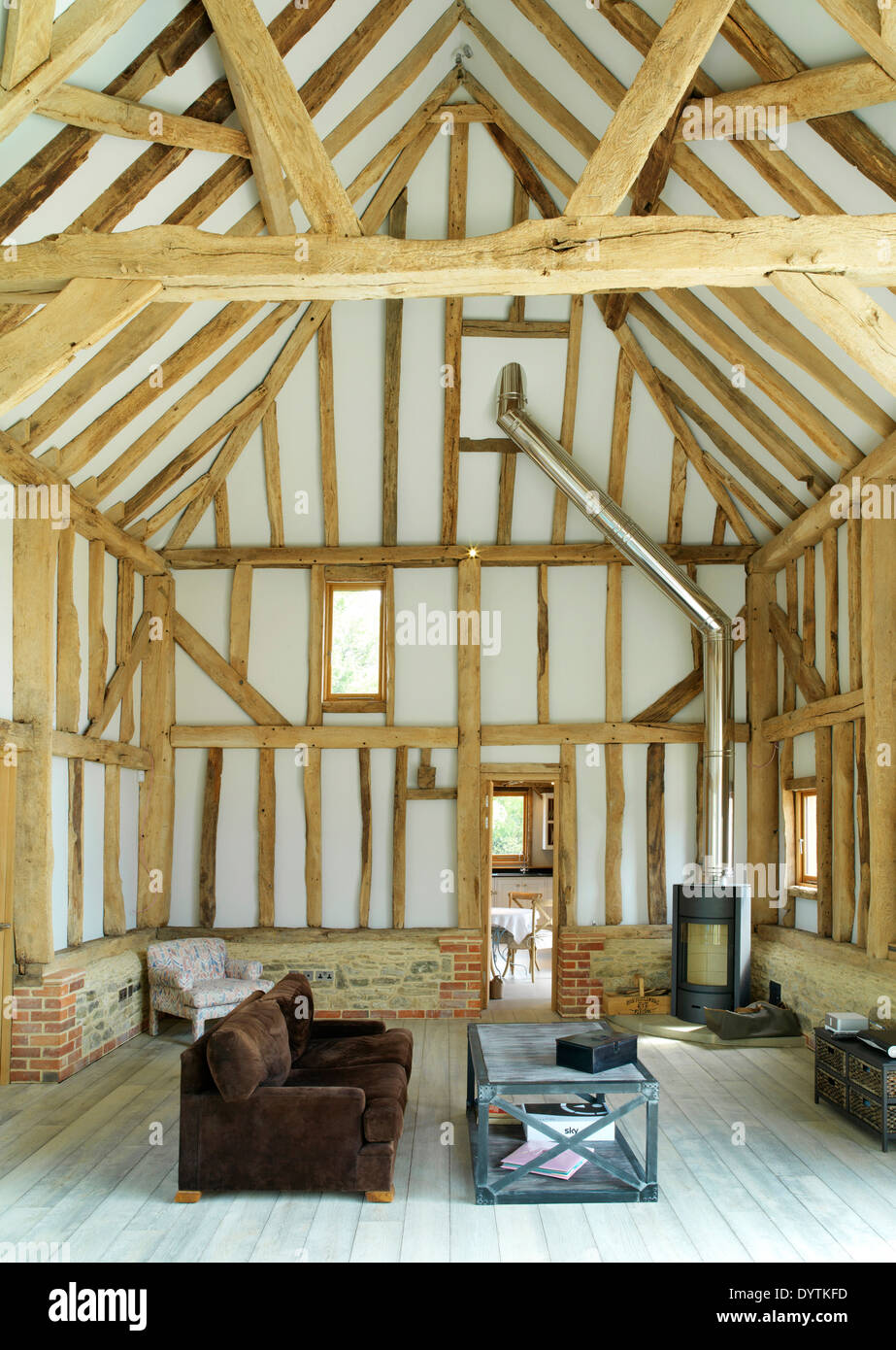... Living Room In Barn Conversion With Exposed Beams, Field Place Barns,  Surrey   Stock Part 49