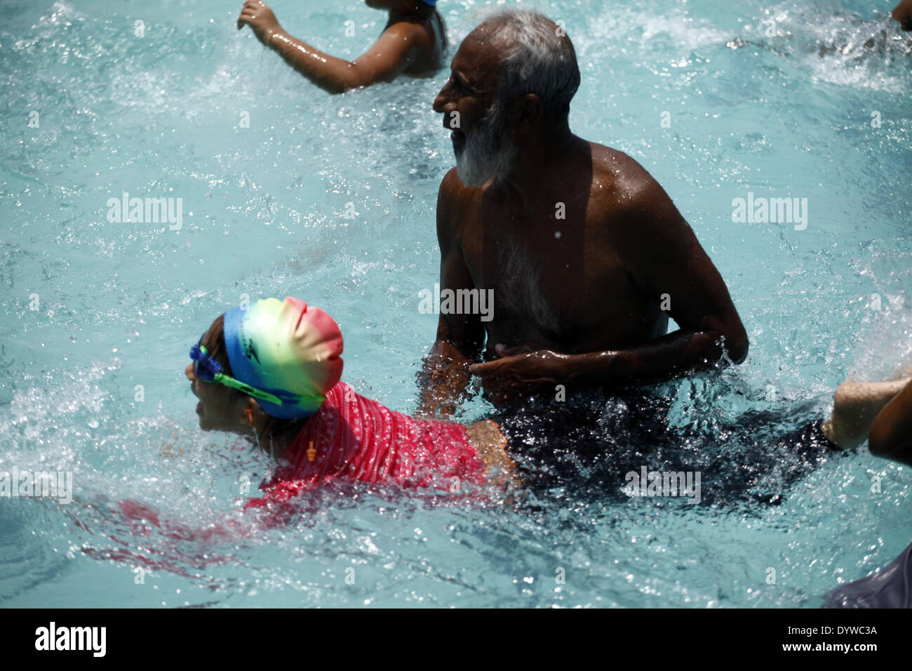 Dhaka Bangladesh 25th Apr 2014 Children Are Learing Swimming In A Stock Photo Royalty Free