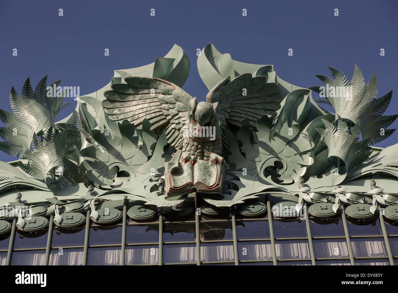 owl figures on the roof of the harold washington library center on