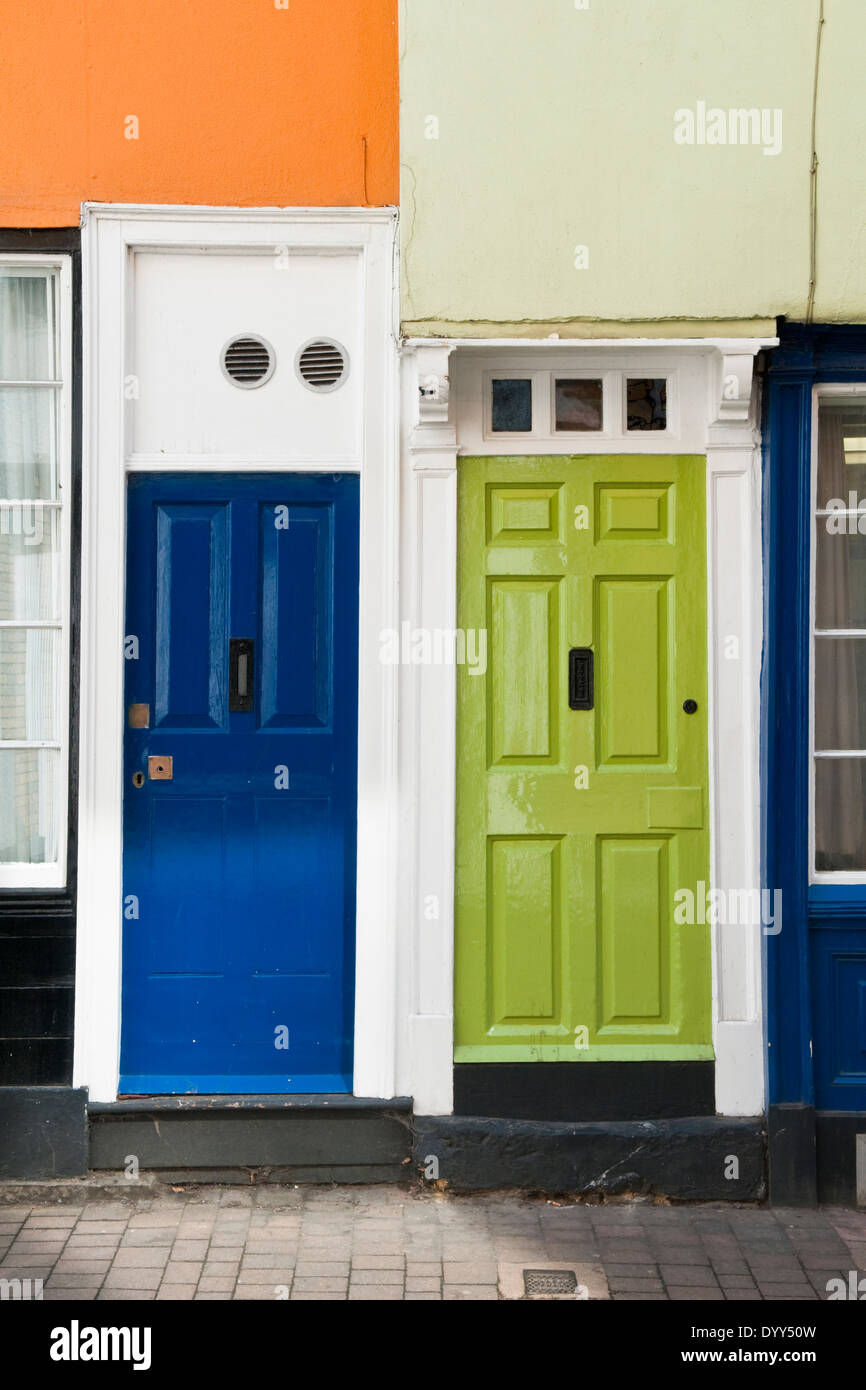 Blue and green painted front doors in Oxford England & Blue and green painted front doors in Oxford England Stock Photo ... Pezcame.Com