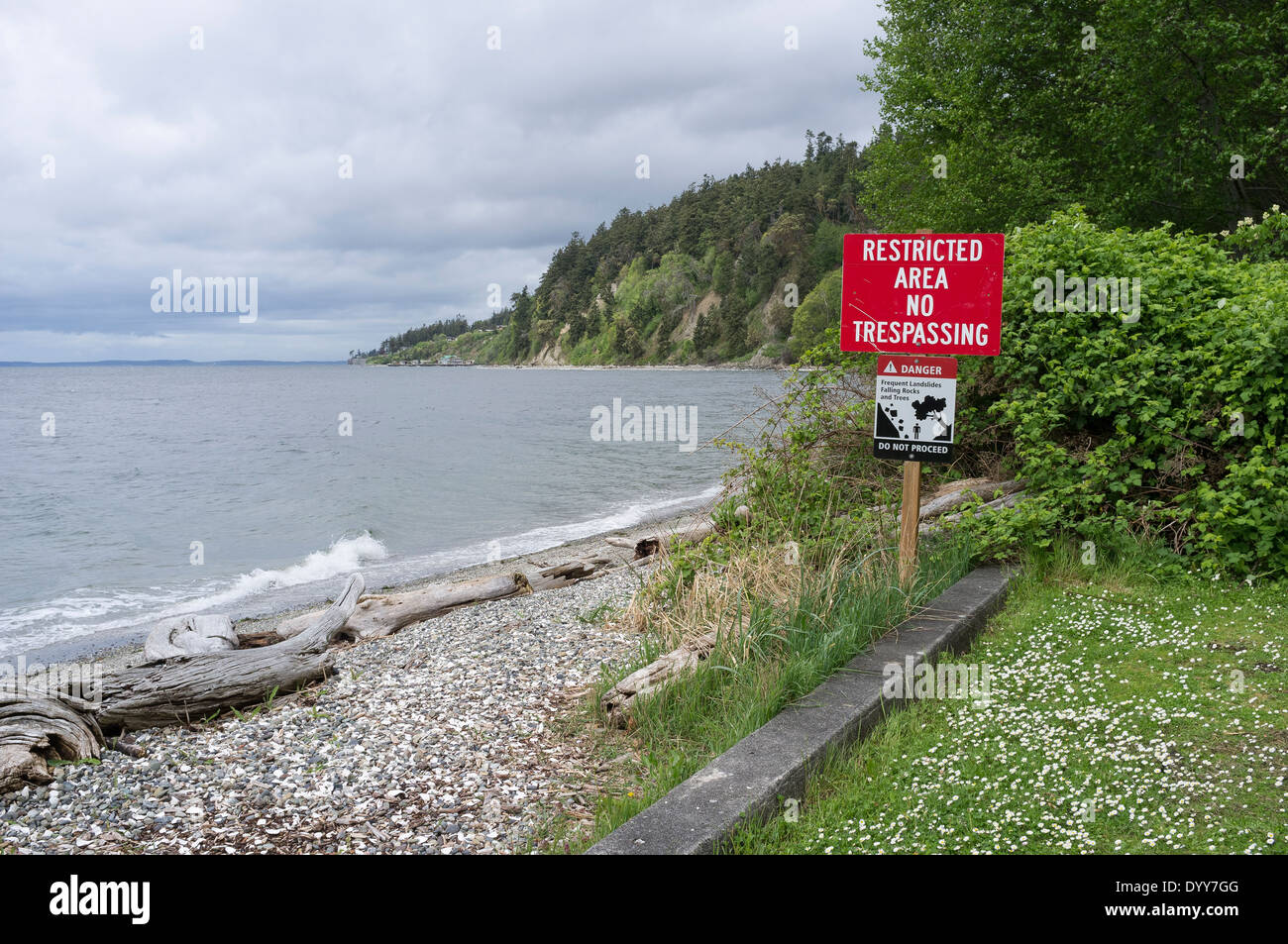 Saratoga passage stock photos saratoga passage stock images alamy no trespassing sign at cama beach state park camano island island county washington geenschuldenfo Image collections