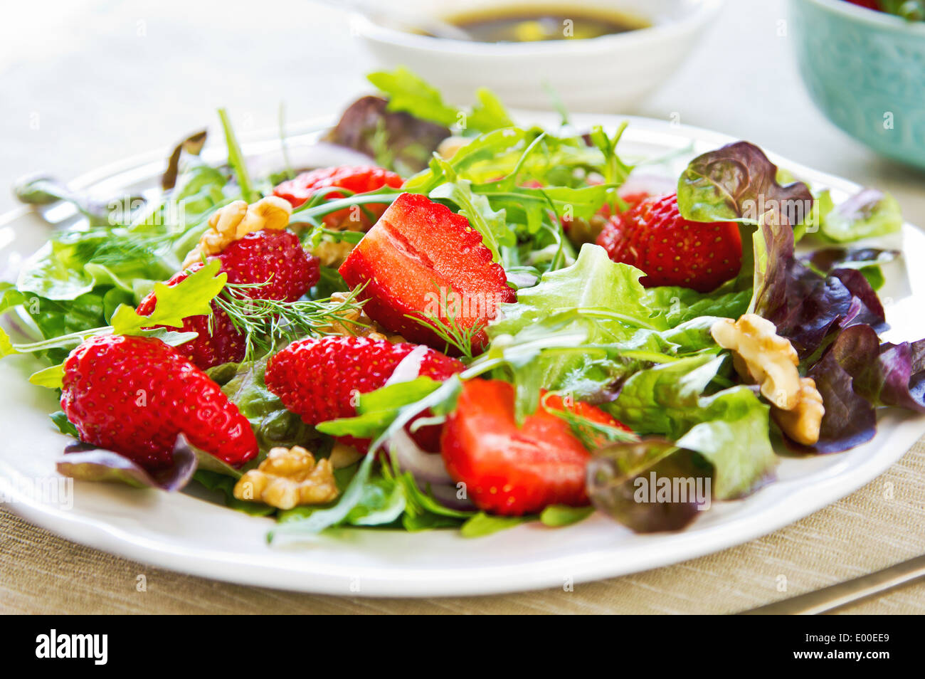 Stock Photo Strawberry With Walnut And Rocket Salad By Balsamic Dressing