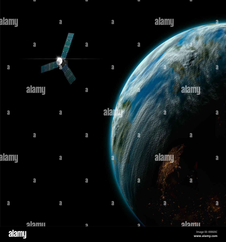 An artist's depiction of a satellite in orbit around an ...