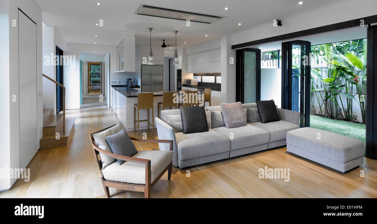 Open Plan Living Room Kitchen In Modern House Swiss Club Road Singapore