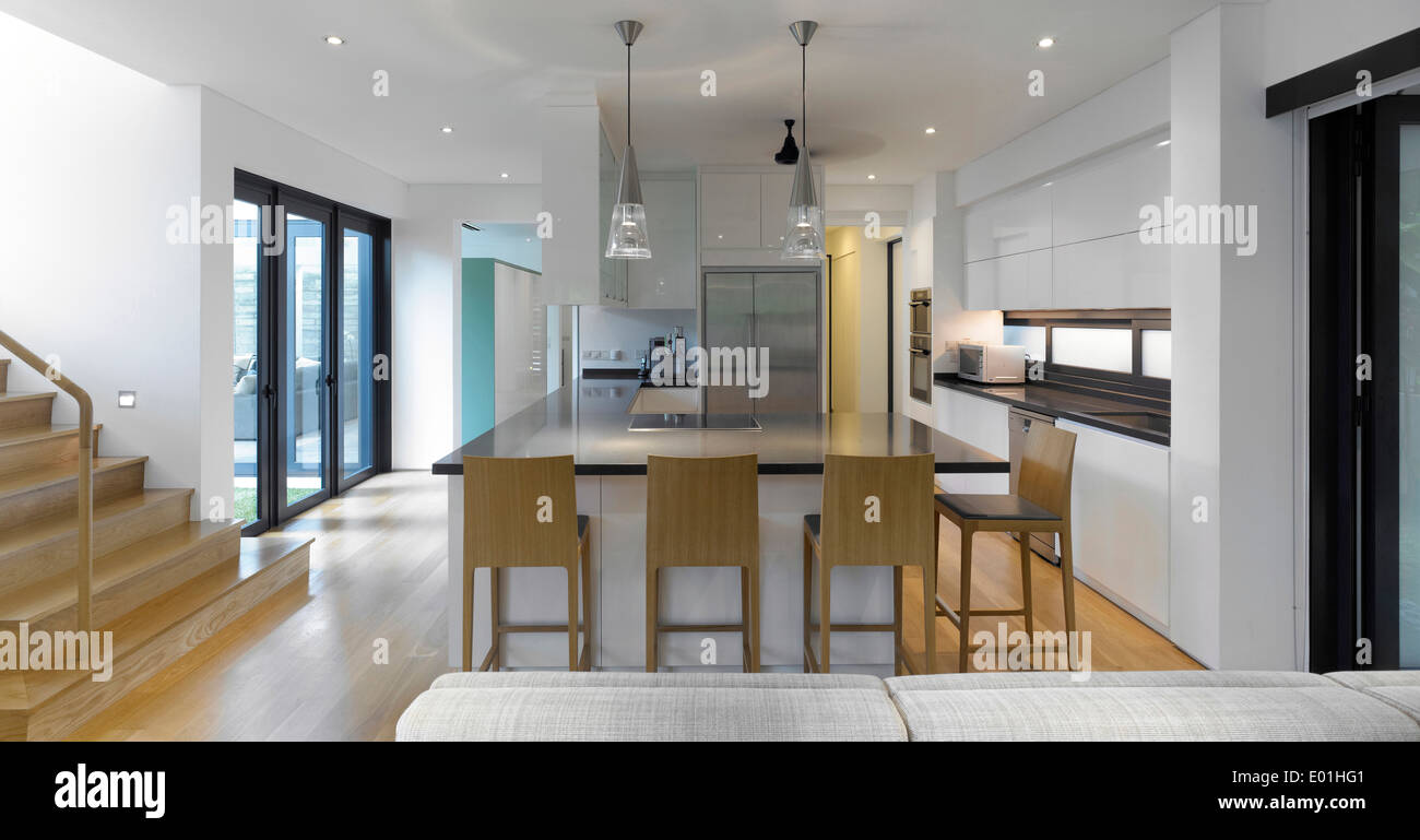 Open Plan Kitchen And Staircase In Modern House Swiss Club Road - Swiss home design