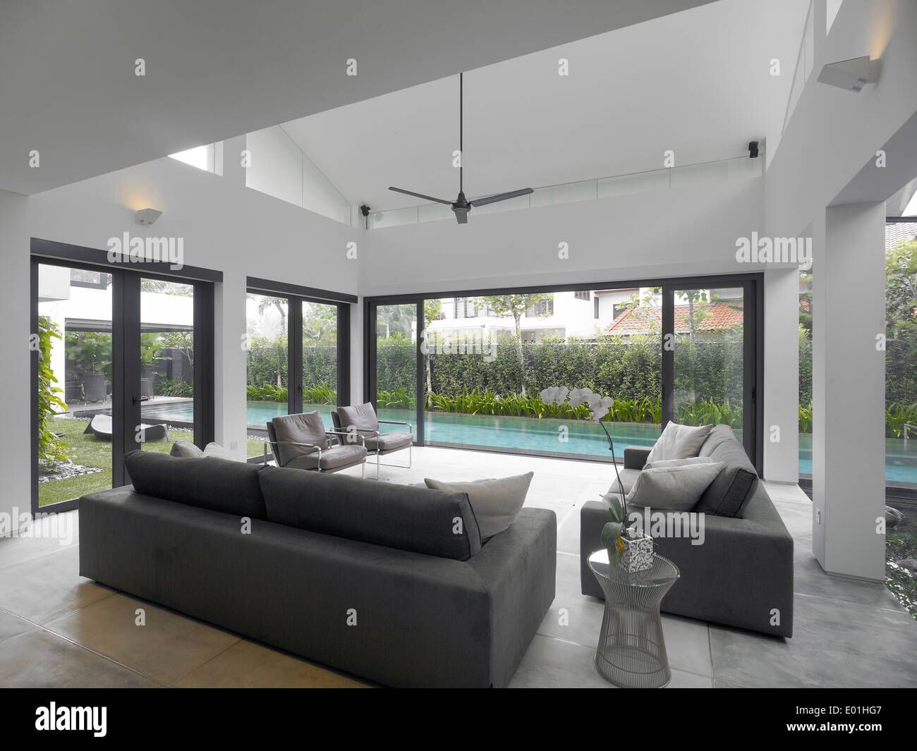 Living Room With View Of Swimming Pool In Modern House Swiss Club Stock Photo Royalty Free